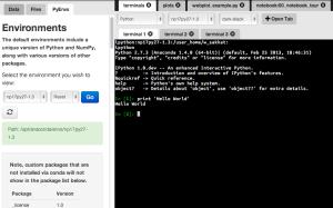 Wakari permite la configuración de diferentes entornos y consolas desde el navegador